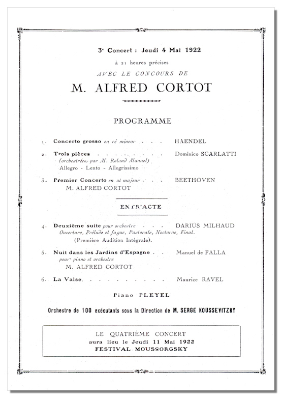 Classical Net  Koussevitzky Concert Programs  Thtre National De