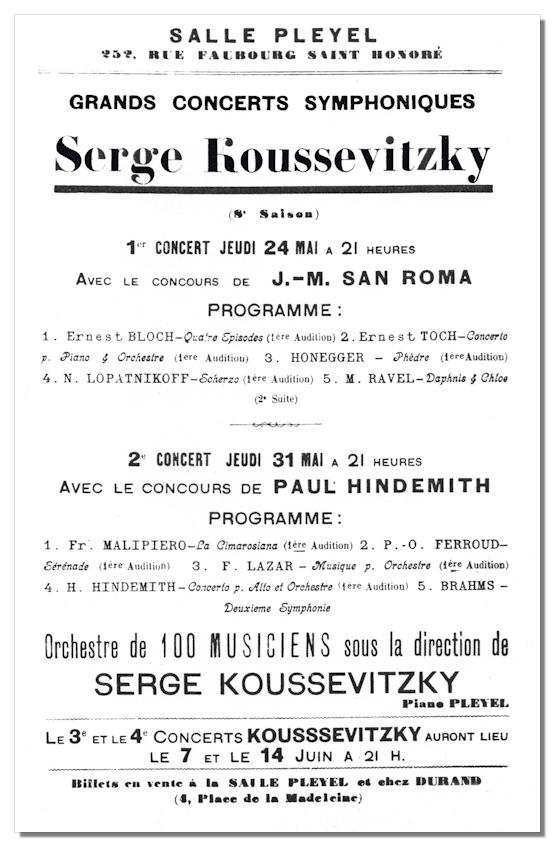 Classical Net  Koussevitzky Concert Programs  Salle Pleyel  May