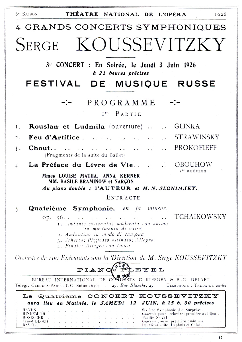 Classical Net Koussevitzky Concert Programs Th tre National – Concert Program