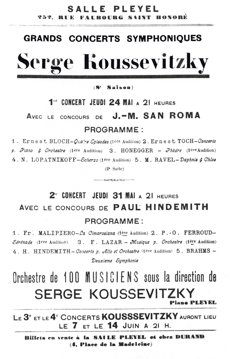 Classical Net Koussevitzky Concert Programs Salle Pleyel May – Concert Program
